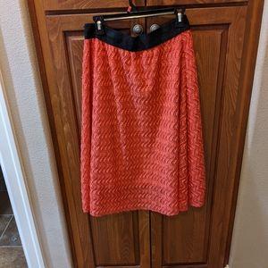LuLaRoe Coral and Black Lace Lola Skirt